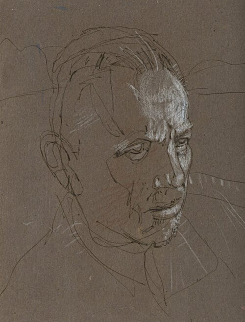Pen and ink drawing of man's face by artist, illustrator, and painter, Bill Koeb