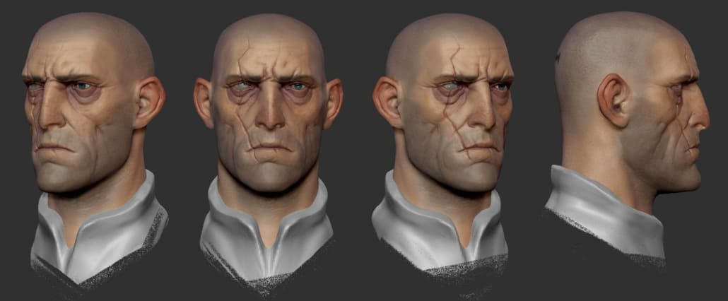 Character design of head for video game concept by Patrick Morrison