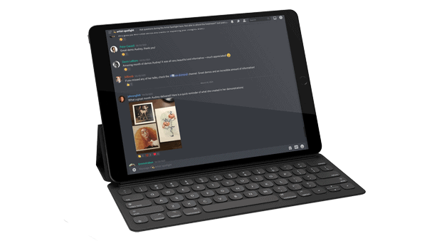 ipad showing artwork in a discord server