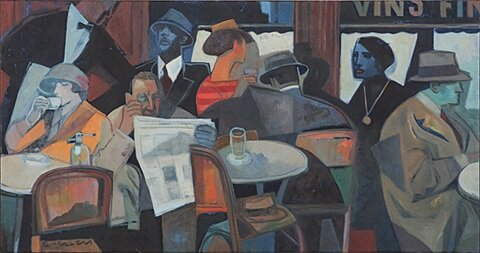 Illustration of people at a cafe by artist, Gary Kelley