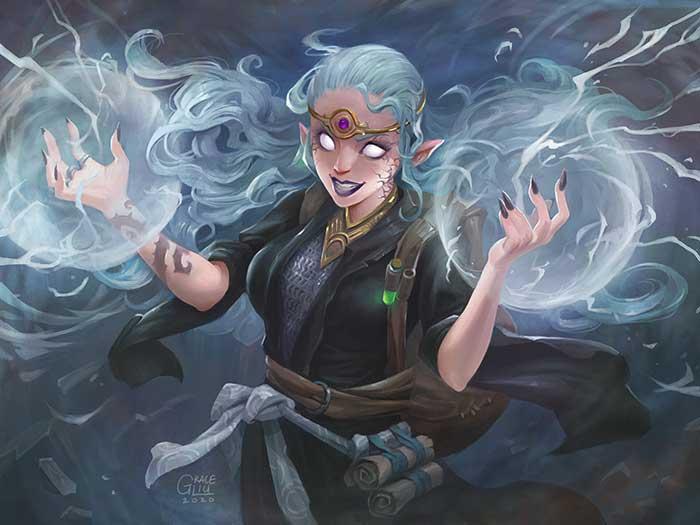 Fantasy character performing magic