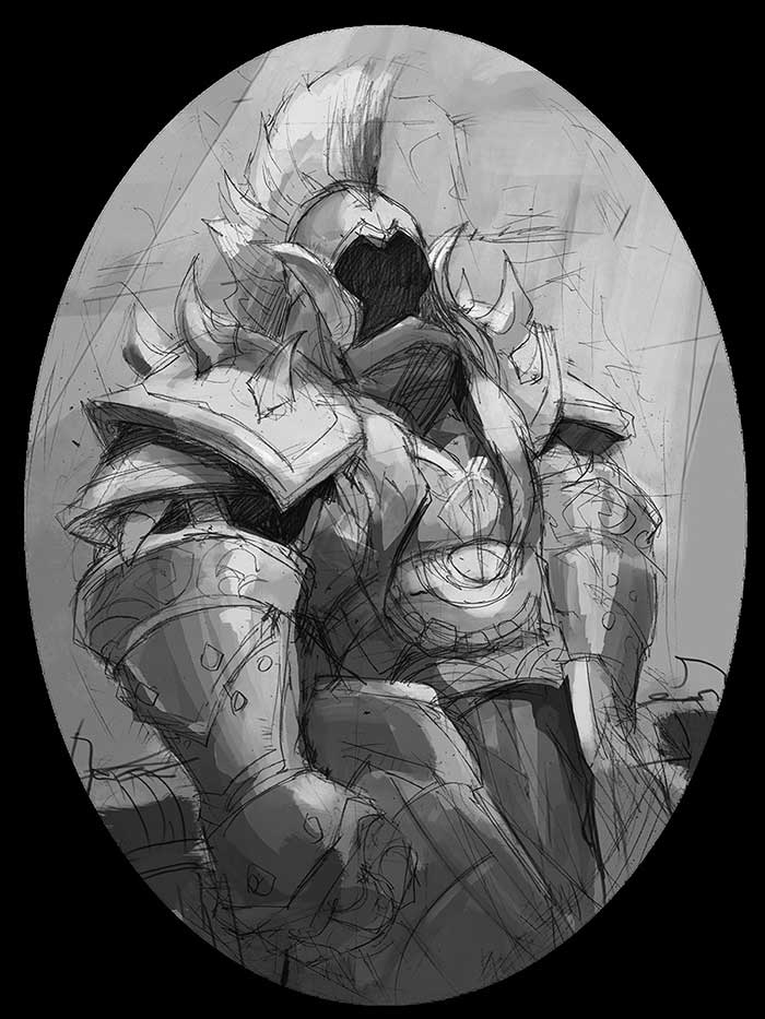 Sketch of character design concept art of knight