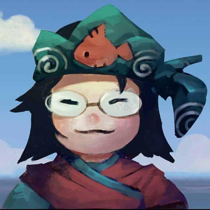 Caricature illustration of artist Grace Liu