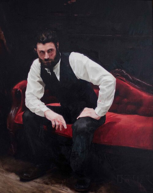 Oil painting of a man sitting on a red couch by Karla Ortiz.