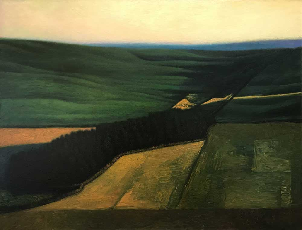 Landscape painting of rolling hills by illustrator and painter, John English