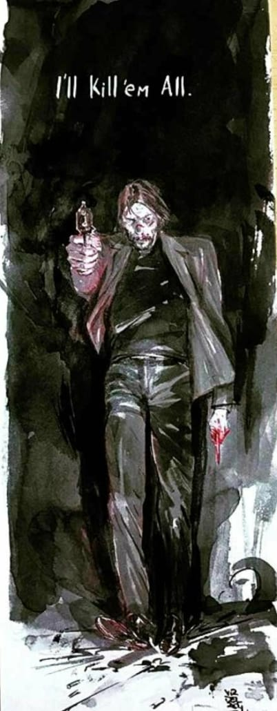 Comic book style painting of John Wick by Vanesa R. Del Rey
