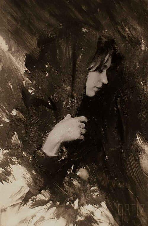 Sketchbook drawing, painting of female figure by Karla Ortiz.