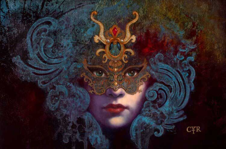 Painting of woman wearing a mask by illustrator and artist, Lisa Cyr.
