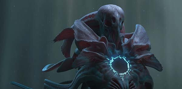 Creature design for the movie Arrival. Art by concept artist, Peter Konig.
