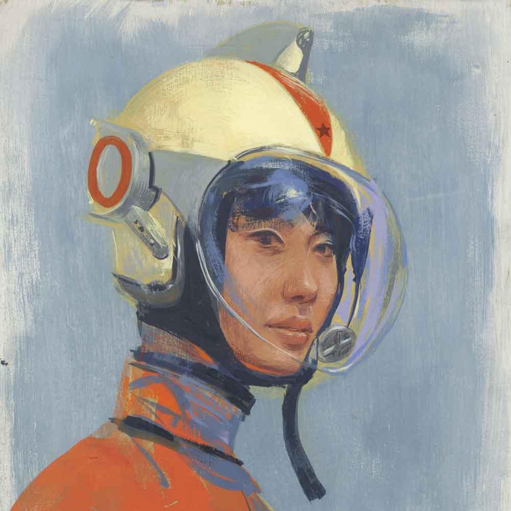 Sci fi sketchbook painting of a pilot by artist Don Kilpatrick.