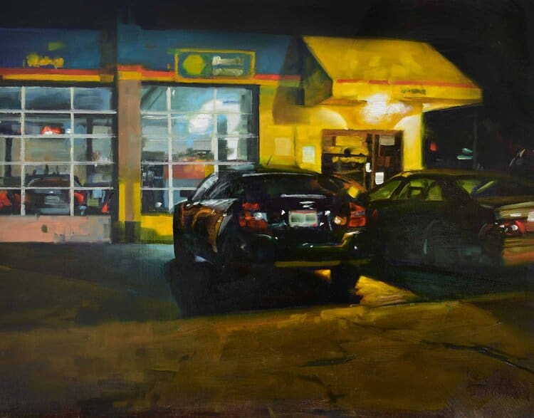 Oil painting of cars in front of gas station by artist Steven Walker
