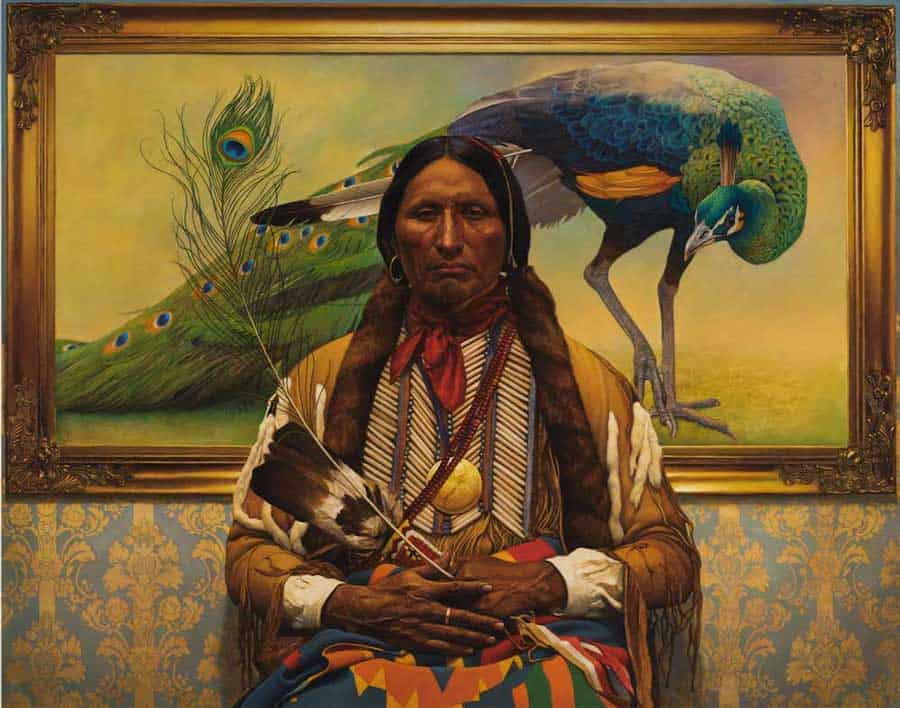 Painting of Native American person in front of bird painting, by illustrator and artist, Thomas Blackshear.