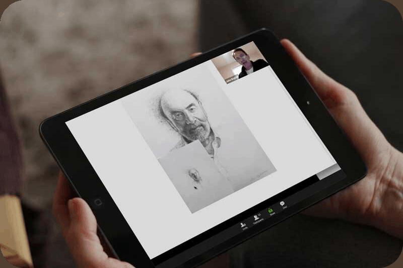Online art class pencil drawing of man by John English