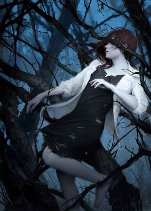 Painting of woman falling in forest by concept artist and illustrator, Karla Ortiz.