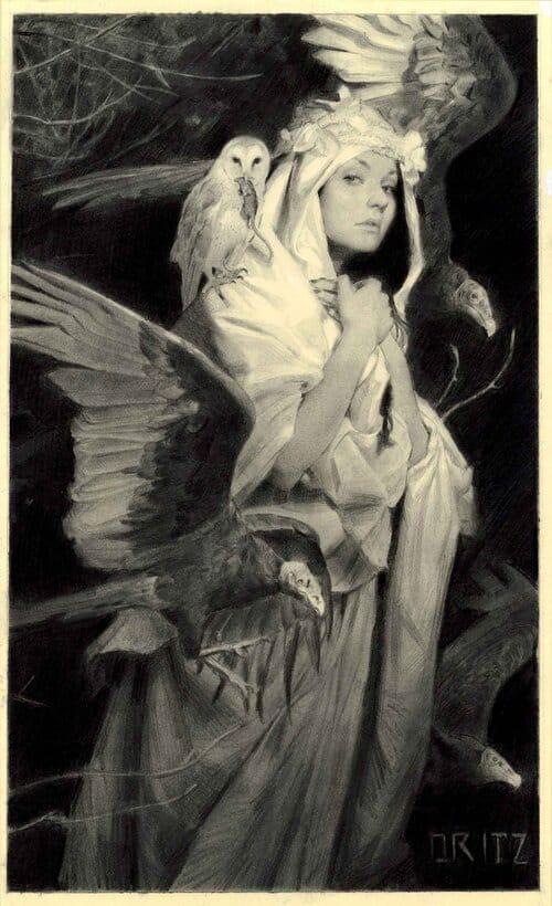 Fantasy art of woman with birds by Karla Ortiz.