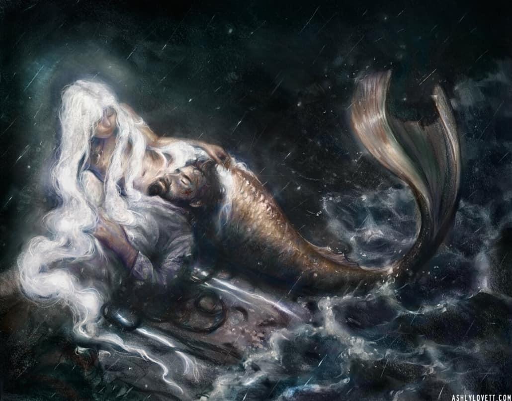 Painting of a mermaid by fantasy artist, painter, and illustration, Ashly Lovett.