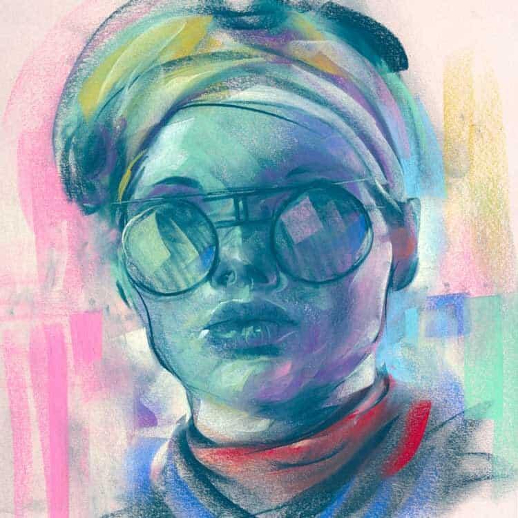 Ashly Lovett Illustration, painting in pastel from the podcast Illustration Isolation