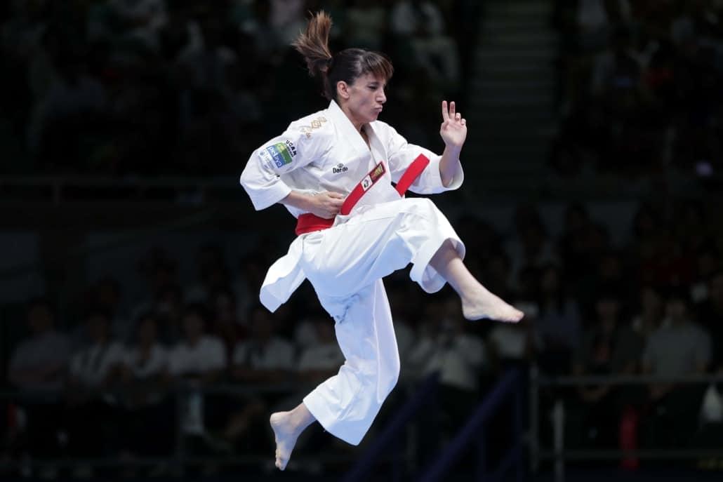 Photo of Sandra Sanchez performing at Olympics
