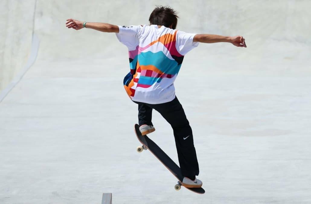 Yuto Horigome skateboarding in the 2021 Tokyo Olympics