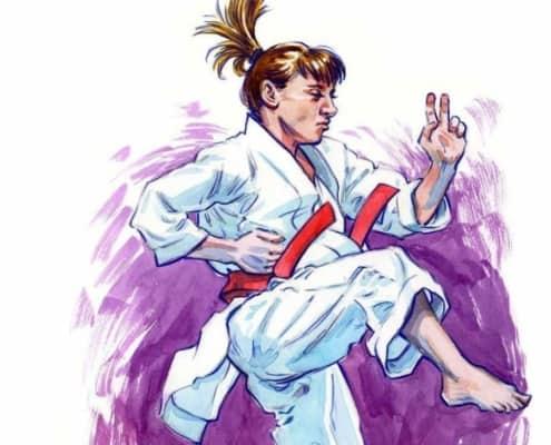 Devin Leblanc illustration of a karate athlete at the Olympics