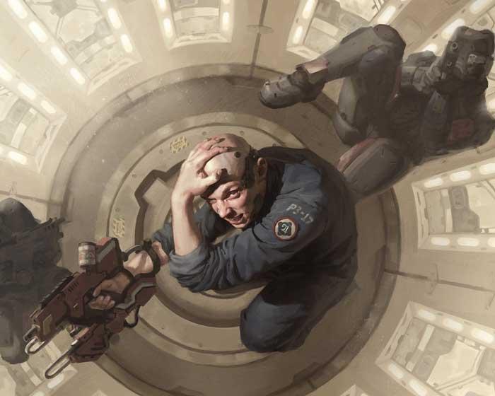 Scifi character design holding gun