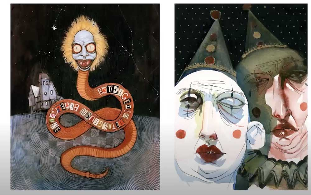 These paintings were created using a combination of watercolor, gesso, and ink.