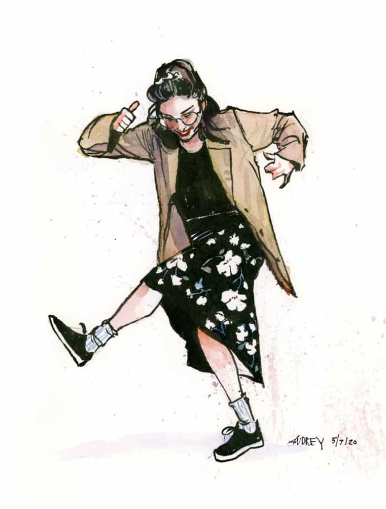 """Watercolor painting of Elaine from """"Seinfeld"""" Night."""