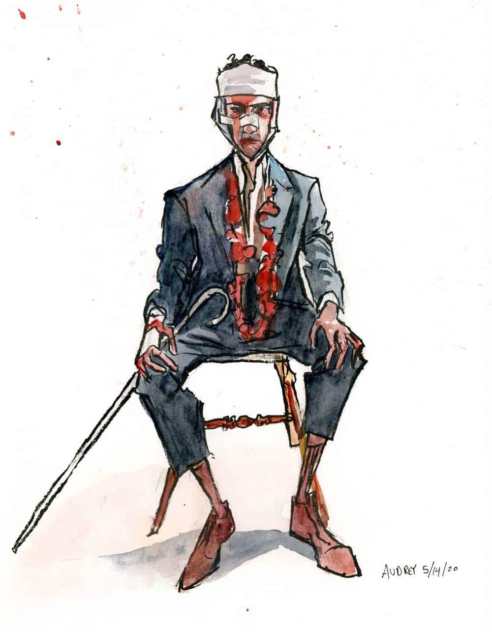 Watercolor of man sitting