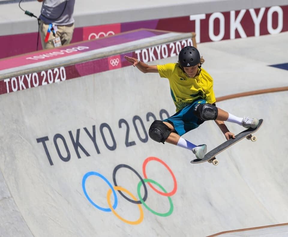 Keegan Palmer skating at the Olympics