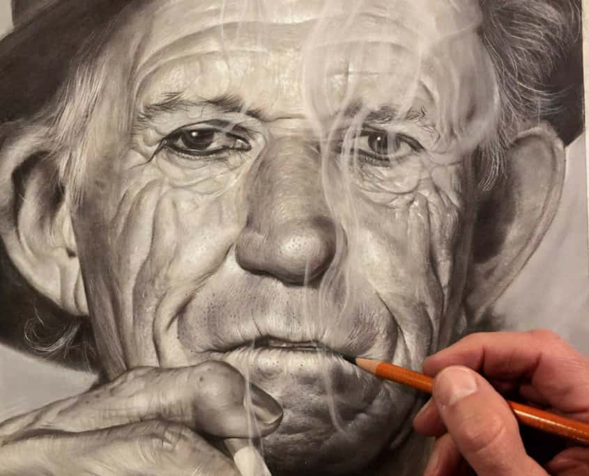 Graphite pencil drawing of Keith Richards by illustrator and portrait artist, Dale Stephanos.