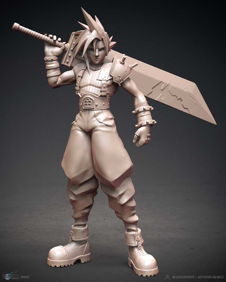 Character design sculpt with giant sword