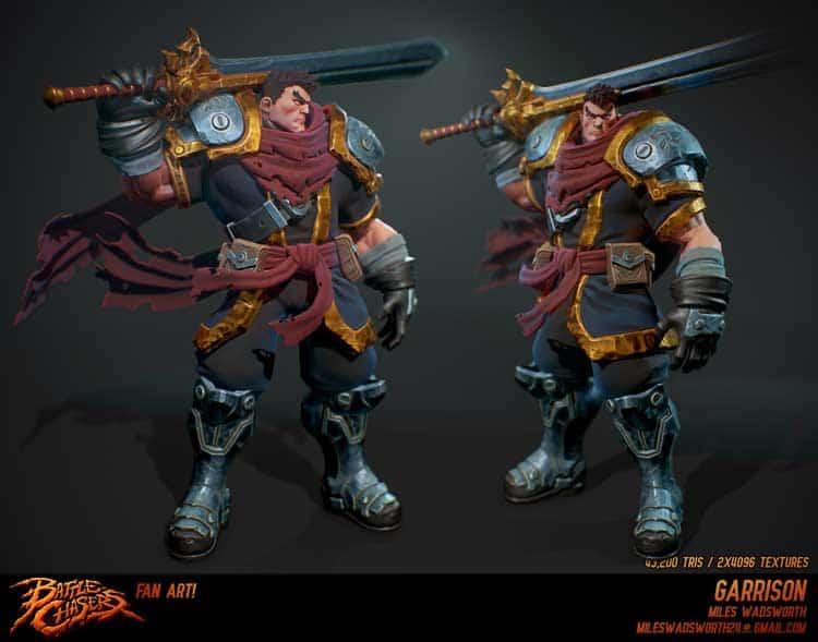 Battlechaser character design by concept artist and designer Miles Wadsworth.