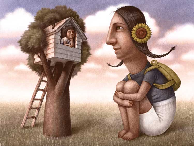 treehouse illustration painting drawing