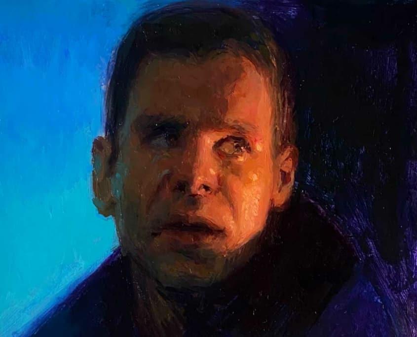 Digital oil painting of Blade Runner character by artist, Raymond Bonilla