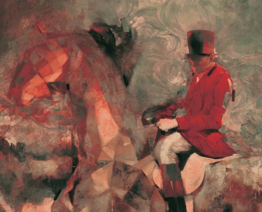 Sterling Hundley illustration painting abstract of man riding horse