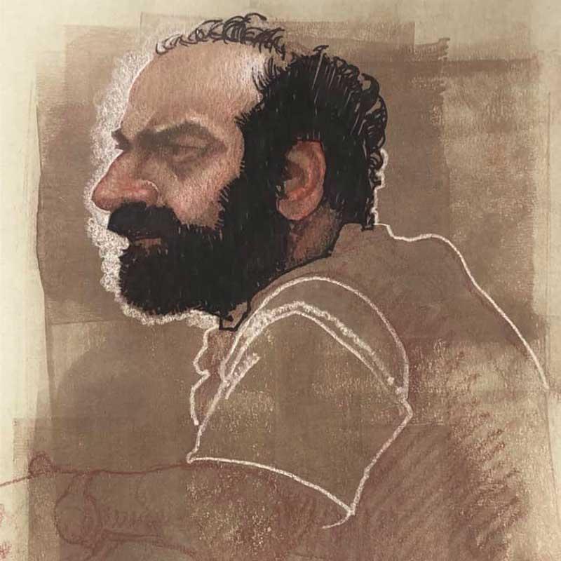 Profile portrait illustration of many by artist and art teacher C. F. Payne
