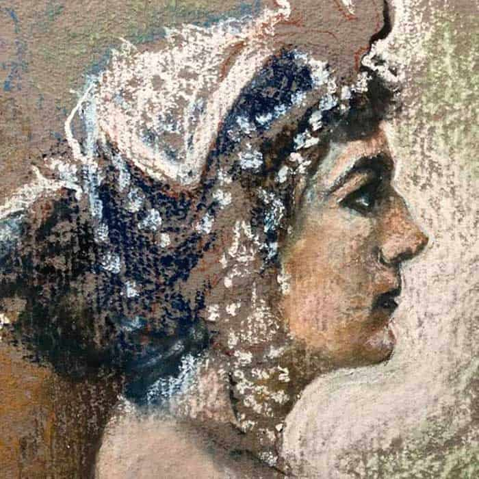 Painting of woman by artist and illustrator, Gil Ashby
