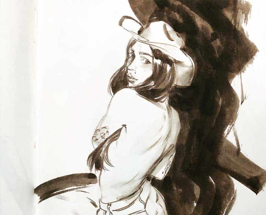Drawing of woman wearing a cowboy hat with back to viewer