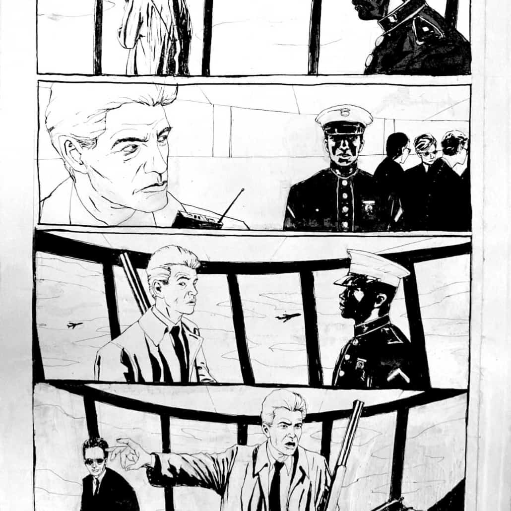 Black and white comic book art of two men talking by sequential artist, Bill Koeb