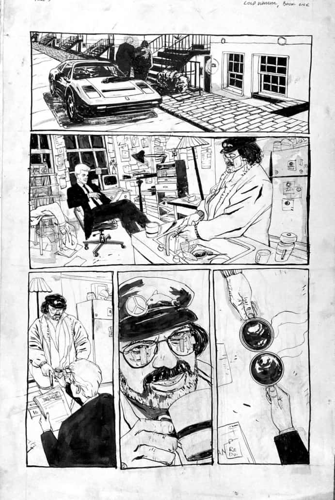 Black and white panel comic by comics and sequential artist, Bill Koeb.