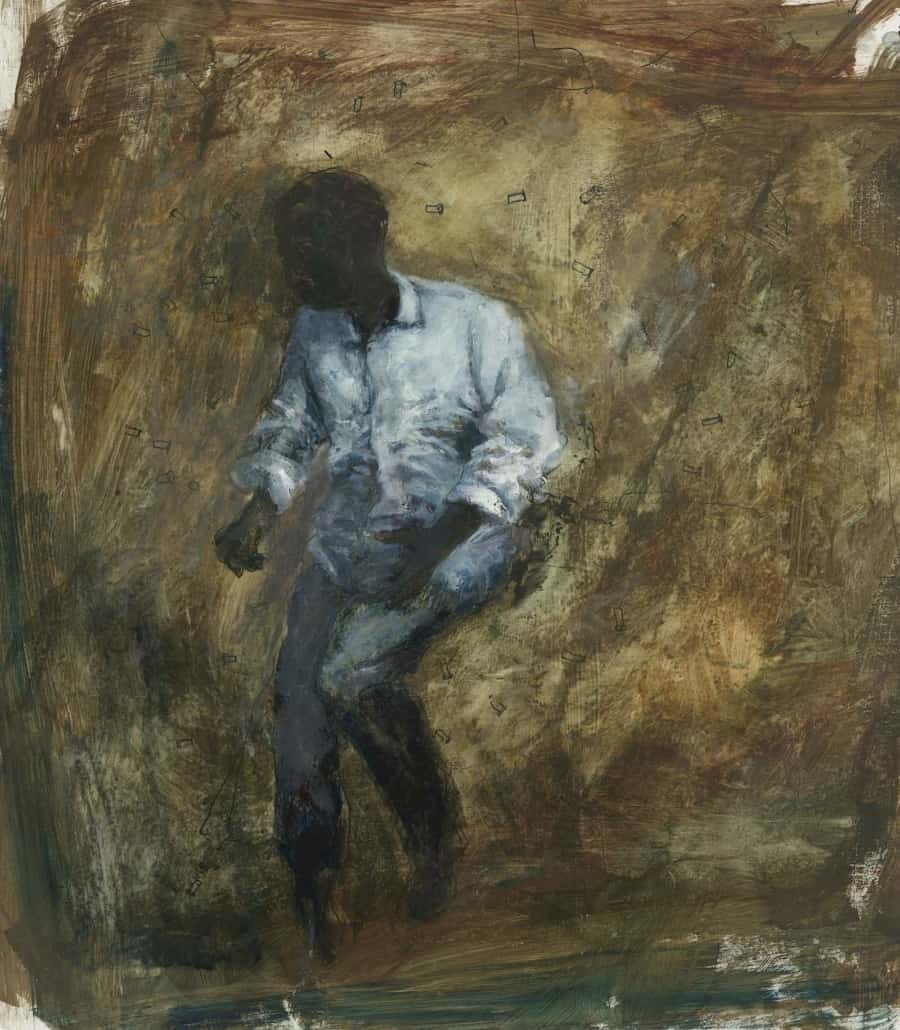 Painting of seated man by comics and sequential artist, Bill Koeb
