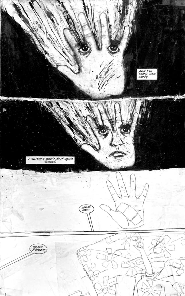 Ink drawing of hand on face for panel art in comics and sequential art by Bill Koeb